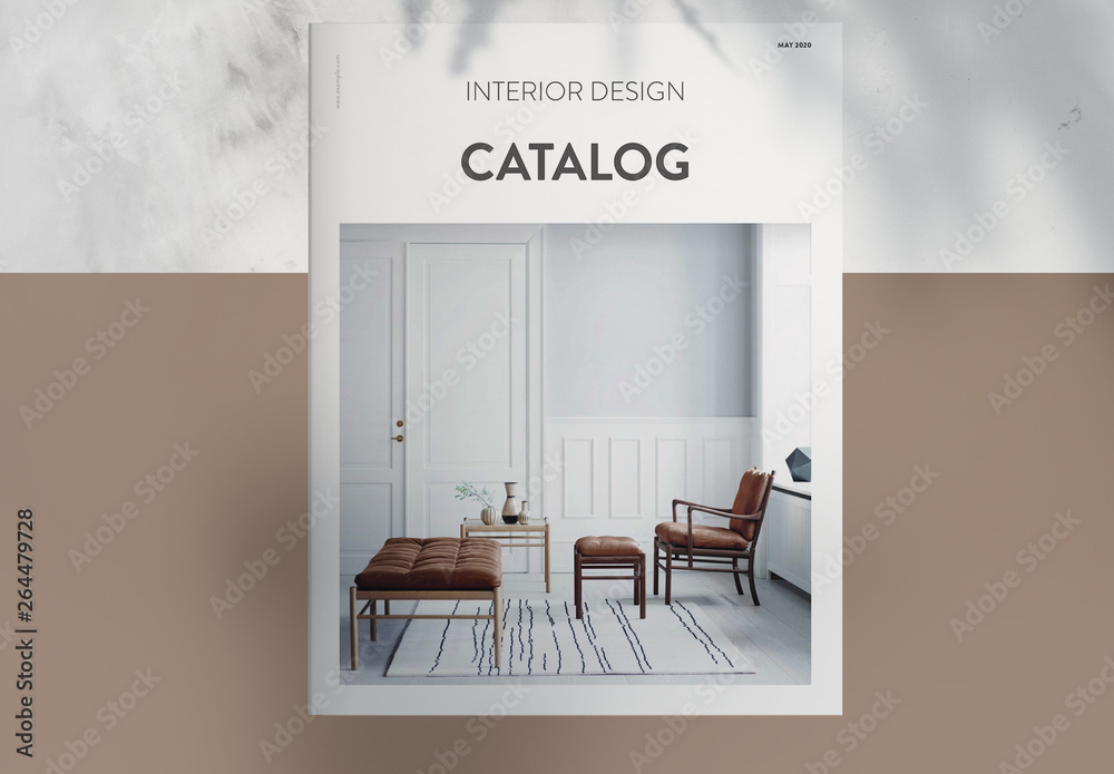 Fototapety, obrazy: Interior Design Catalog Layout with Brown Accents