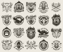 Vintage Monochrome Hunting Emblems Set