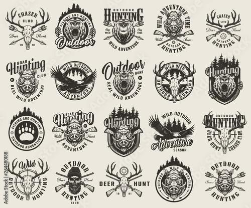 Vintage monochrome hunting emblems set Wall mural
