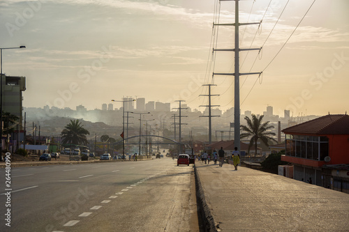 Photo City street at sunset, highway, Africa, Angola, Luanda