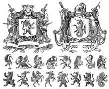 Heraldry In Vintage Style. Eng...