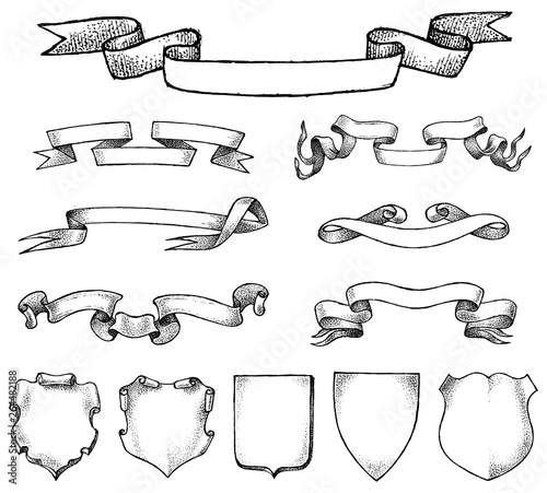 Obraz Ribbon labels ande Frame for national emblem. Heraldry in vintage style. Banners and templates for inscriptions and Coat of arms. Vector sketch Hand drawn. - fototapety do salonu