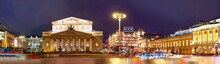 City The Moscow .Night View Of State Academic Maly Theatre,State Academic Bolshoi Theatre Of Russia,Theatre Square.TSUM.Russia.2019