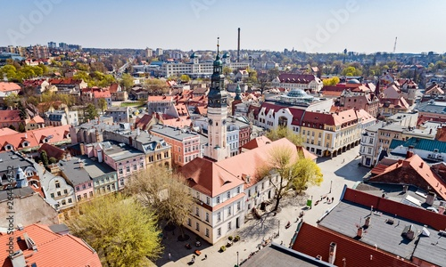 Aerial drone view on town hall and city main square Zielona Gora