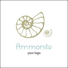 Fossil Ammonite Nautilus Seashell Vector Logo. Hand Drawn Illustration For Spa Salon, Seafood Cafe, Restaurant, Corporate Identity. Isolated Vector Of Ancient Ammonite Fossil. Object For Logo, Card.