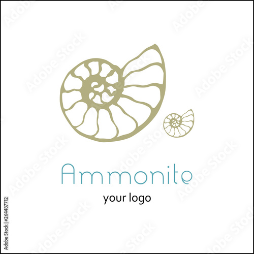 Photo Fossil ammonite nautilus seashell vector logo