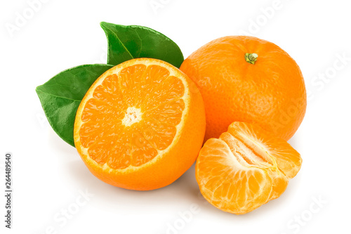 tangerine or mandarin fruit with leaves isolated on white background - 264489540