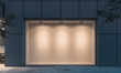 canvas print picture - Empty illuminated storefront. night time. 3d rendering. Copy space. Empty space.
