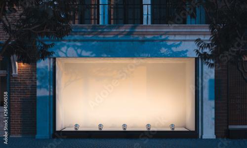 Fotografie, Obraz Empty illuminated storefront