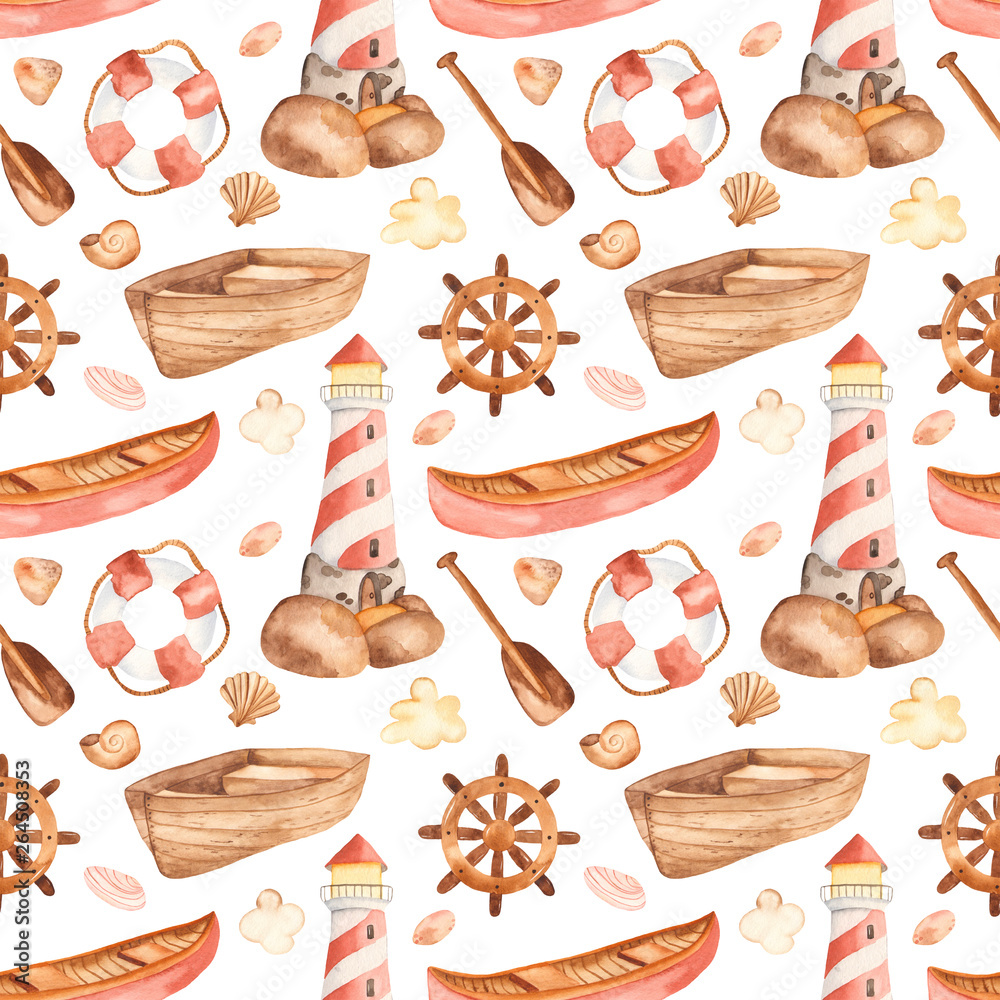 Watercolor seamless pattern with lighthouse, boat, paddle, steering wheel. Perfect for cards, invitations, baby shower, marine design, wallpaper, packaging, fabrics, prints.