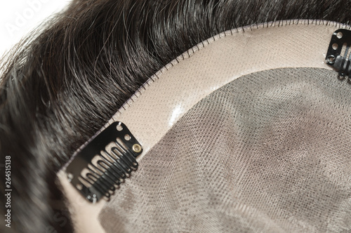 Photo  remy long straight  black human hair extension toupee