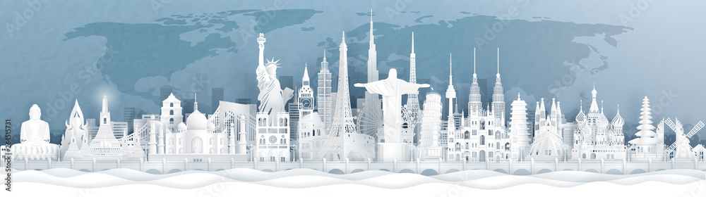 Fototapeta Panorama postcard and travel poster of world famous landmarks of Europe, Asia and America in paper cut style vector illustration