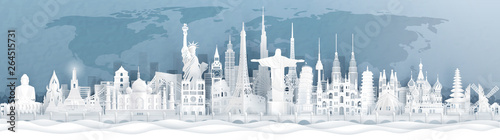 Panorama postcard and travel poster of world famous landmarks of Europe, Asia an Wallpaper Mural