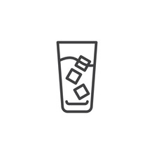 Iced Coffee With Ice Cubes Line Icon. Linear Style Sign For Mobile Concept And Web Design. Glass With Ice Coffee Drink Outline Vector Icon. Symbol, Logo Illustration. Pixel Perfect Vector Graphics