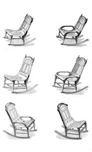 Set Of Old Rocking Chairs Isolated On White