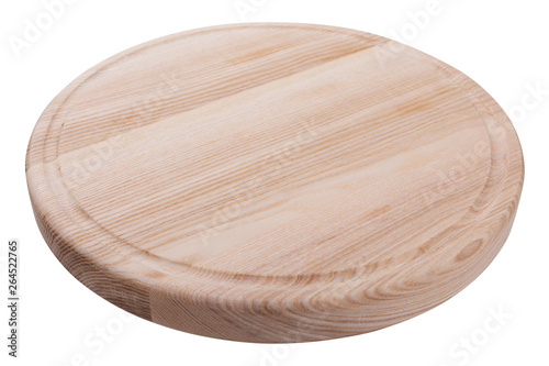 Valokuva  new round wooden board for cutting or serving dishes, on a white background