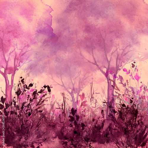 Wall Murals Candy pink Watercolor landscape. pink trees, bushes, field, wild grass.Watercolor group of trees - willow, sakura, aspen,cherry, apple. The silhouette of the forest, sun,sunset, sunrise. Summer, spring, autumn.