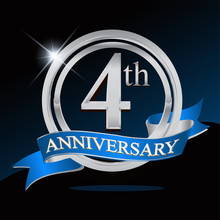 4th Anniversary Logo With Blue Ribbon And Silver Ring, Vector Template For Birthday Celebration.