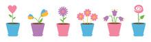 Flower Pot Set Line. Daisy Cha...