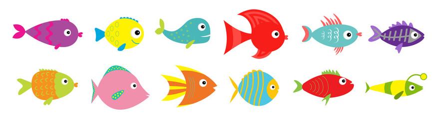 Slatka crtana riba ikona postavljena linija. Morska oceanska životinja. Kolekcija dječje djece. Ravan dizajn. Bijela podloga. Izolirano.