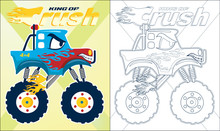 Coloring Book Or Page Of Blue Monster Truck Cartoon With Red Flame