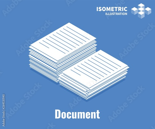 Fototapeta Document icon. Pile of documents, stack of business paper. Vector 3D illustration isolated on blue background. obraz