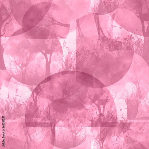 Photo Stands Candy pink Watercolor seamless pattern, background with vintage pattern. Pink bush, tree, beautiful landscape in pink color. Abstract paint splash. Bush, wild grass, pink landscape. Stylish fashion illustration