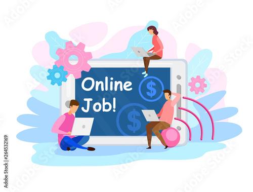 Staande foto Kasteel Remote Job Vacancy Web Banner Flat Vector Template