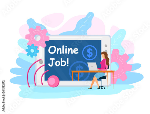 Staande foto Kasteel Online, Temporary Job Vacancy Web Banner Template