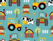 Seamless Pattern Vector With Farmyard Theme Cartoon