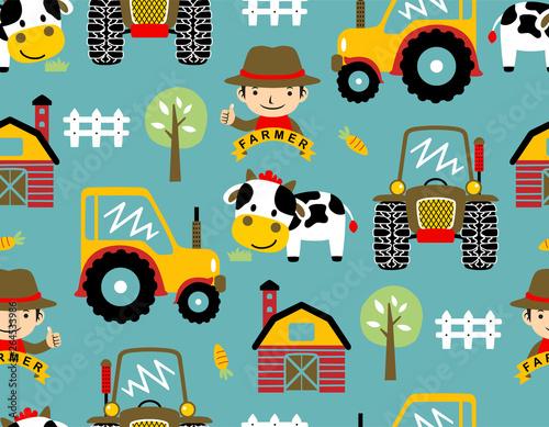 seamless pattern vector with farmyard theme cartoon Wallpaper Mural
