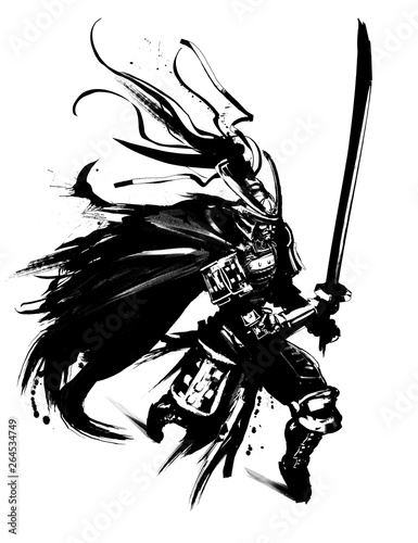 Fotobehang Art Studio Samurai in armor with a sword running into battle