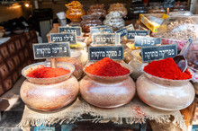 Herbs And Spices Sold In Shuk Hacarmel Market, Tel Aviv, Israel