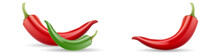 Mexican Jalapeno Red And Green Hot Chili Pepper Vector Icon On White Background. Colors Hot Chili Peppers Set. Vector Illustration