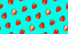 Strawberry Seamless Pattern, Top View, Flat Lay
