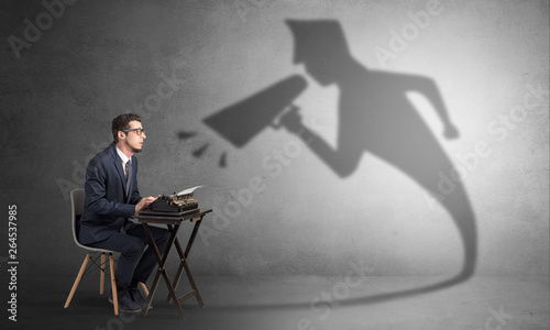 Fototapety, obrazy: Hard working businessman shadow yelling to himself concept