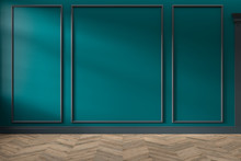 Modern Classic Green Empty Interior With Wall Panels And Wooden Floor. 3d Render Illustration Mock Up.