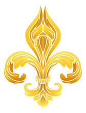 A Gold Fleur De Lis Heraldic Coat Of Arms Graphic Design Element