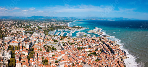 Antibes aerial panoramic view, France Canvas Print