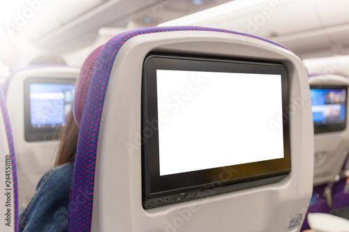 Fotografía Mockup of Aircraft monitor on cabin in passenger seat plane interior