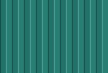 Green Wall Panels Texture.  Corrugated Metal Profiled Panel. Vertical Lines. Simple Realistic Design. Vector Seamless Pattern.