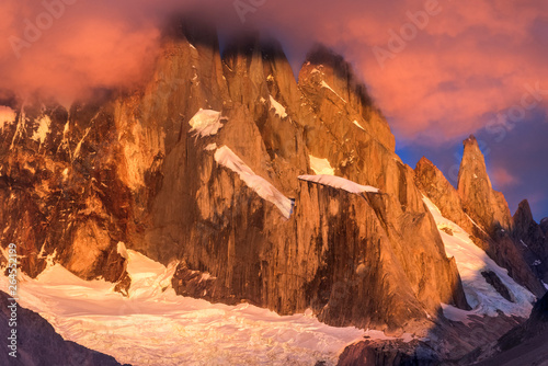 Cerro Torre coming out from the clouds at Laguna Torre