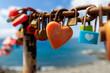 Leinwandbild Motiv Heart locks on the wall Lanzarote.  Canary islands, Spain.