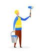 Handyman, Wall Painter Flat Vector Illustration