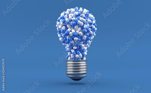 Photo  Pills in light bulb shape