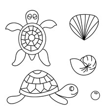 Fantasy Ocean Collection With Doodle Fish, Shells And Bird For Adult Coloring Book. Black And White Sea Life Background In Line Art Style
