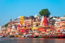 Colorful Boats And Ganges River