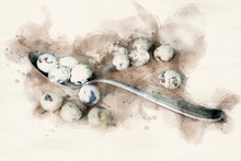 Old Spoon With Quail Eggs On Wooden Table