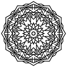 Geometric Mandalas. Coloring Book Page. Zigzag Ornament. Round Element For Design. Decorative Ornament. Sketch For Tattoo. Ethnic Fractal Mandala. Graphic Element.