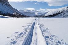 Cross Country Ski Trail In National Park Sarek, Swedish Lapland. Sweden.